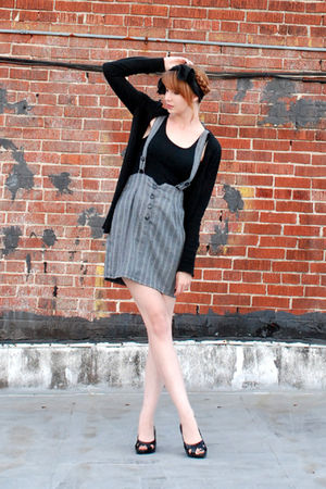 black sweater - gray vintage dress - black scarf - black shoes