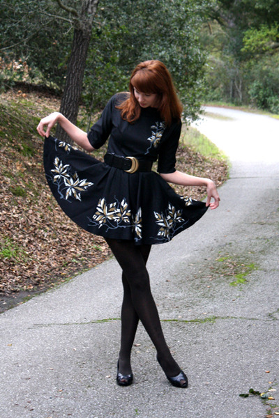 black vintage dress - dark brown Target tights - black vintage belt