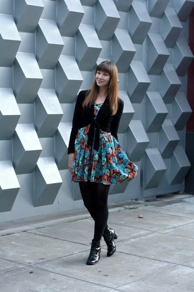 black vintage boots - teal vintage dress - black H&M sweater