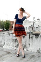 blue shirt - blue belt - orange skirt - blue shoes