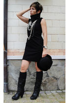 black boots - black socks - black dress - black hat - silver necklace
