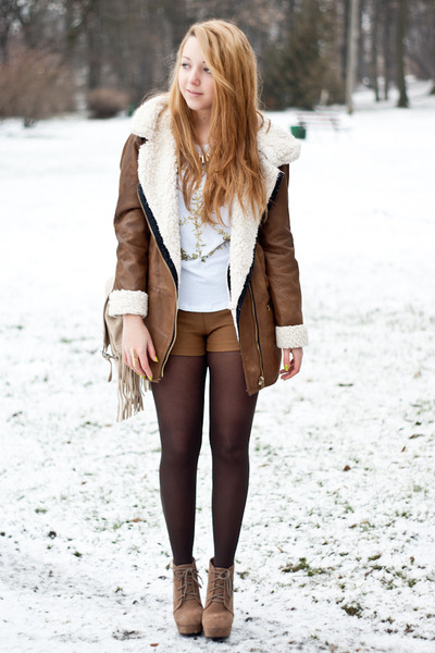 brown Bershka coat - dark brown H&M tights - beige Choies bag