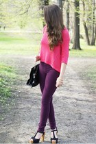 black Czas na buty shoes - hot pink Vero Moda sweater - black VJ Style bag