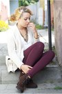 Dark-brown-romwe-shoes-ivory-bershka-sweater-maroon-h-m-leggings
