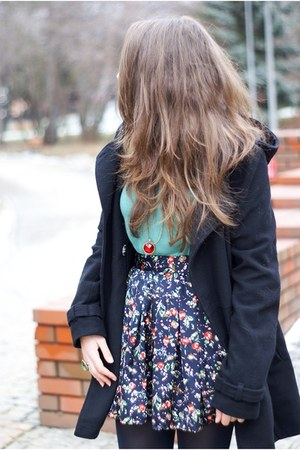 navy romwe skirt - black H&amp;M coat - turquoise blue H&amp;M sweater