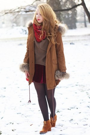 brown Sheinside coat - dark brown romwe sweater - ruby red Iloko scarf