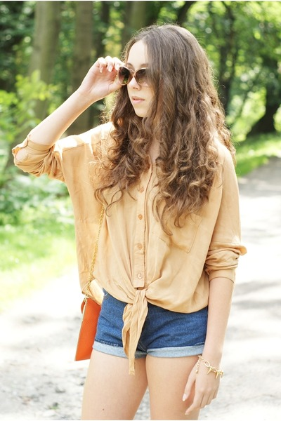 camel romwe shirt - orange Czas na buty shoes - orange Style by Stories bag