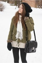 white Tommy Hilfiger boots - black reserved hat - olive green romwe jacket