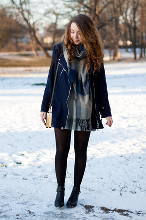 black PERSUNMALL shoes - charcoal gray Chicwish dress - navy Chicwish coat