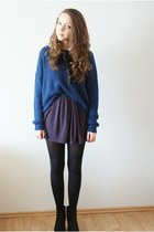 blue Nordstrom sweater - purple H&M dress - black random brand tights
