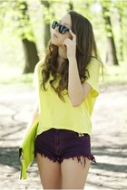 magenta DIY shorts - lime green Alex bags&purses bag - light yellow H&M blouse