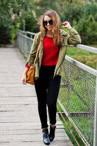 ruby red Sheinside sweater - black Wholesale7 boots - olive green Zlz coat