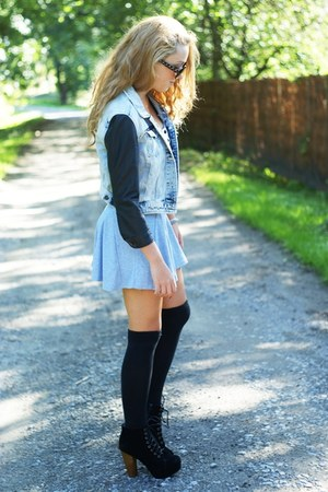 black Czas na buty shoes - silver chicnova dress - sky blue Zara jacket