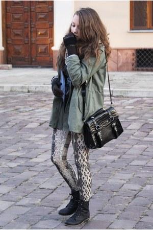 black romwe bag - black CzasNaButy boots - army green romwe jacket