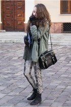 black romwe bag - black CzasNaButy boots - army green romwe jacket