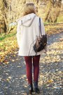 Dark-brown-czas-na-buty-boots-eggshell-arafeel-coat-white-romwe-sweater