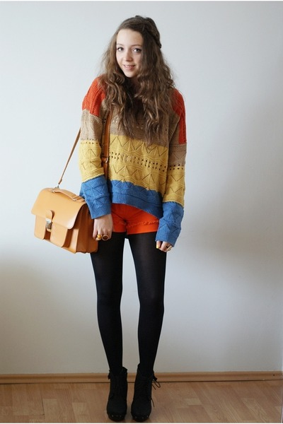 mustard OASAP sweater - light orange romwe bag - carrot orange next shorts