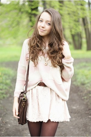 light pink Stradivarius skirt - light pink Sheinside sweater