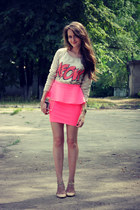 bubble gum Bershka skirt - off white Zara bag - nude Zara flats