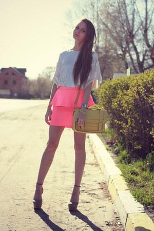 bubble gum Bershka skirt - light yellow Accessorize bag - white sequin asos top