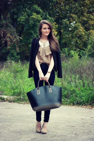 black faux leather Zara bag - navy skinny jeans asos jeans