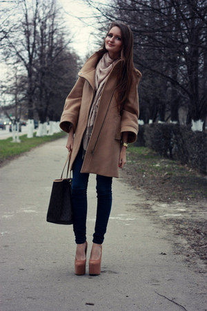 camel Zara coat - navy asos jeans - dark brown Michael Kors bag