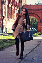 light brown wool Zara coat - dark brown riding Zara boots