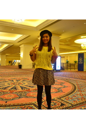 yellow yellow H&M shirt - black bowler In a Row hat - floral cotton on skirt