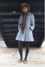 Orange-shoes-gray-h-m-coat-blue-tights-brown-socks-white-dress