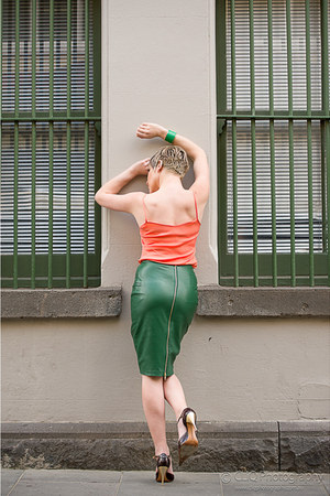 green Malene Birger skirt - apricot RPM top - Malene Birger accessories