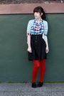 Blue-jcrew-cardigan-blue-urban-outfitters-shirt-black-h-m-skirt-red-anthro