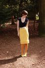 Blue-anthropologie-shirt-beige-forever-21-belt-yellow-thrifted-skirt-gold-