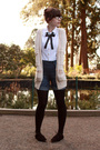 Beige-h-m-cardigan-white-second-hand-top-blue-guess-shorts-black-gift-tigh
