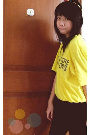 yellow t-shirt - black tights - white accessories - white
