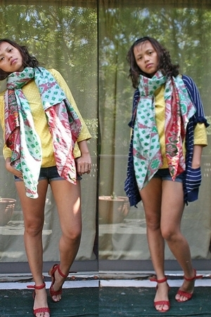 random from Barneys scarf - Target blouse - Gap sweater - DIY shorts - seychelle