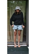 H&M hat - norma kamali  walmart t-shirt - DIY shorts - random brand shoes