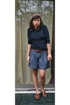 Jcrew sweater - Gap belt - Forever21 shorts - trotters shoes - Headdress accesso