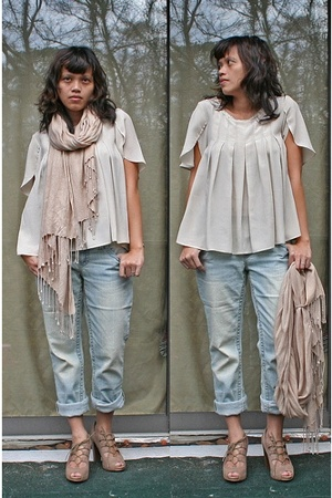 IRO blouse - random brand jeans - H&M scarf - Steve Madden shoes