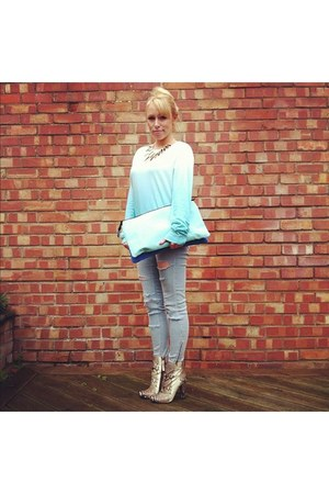 beige snakeskin Zara boots - periwinkle street style H&amp;M jeans