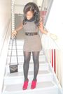 Gray-strawberry-dress-charlotte-russe-shoes-black-h-m-purse