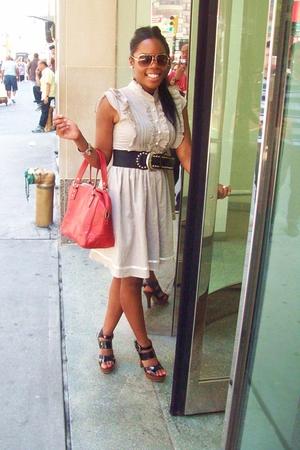 gray dress random brand - studded belt f21 - avaitors f21 - shoes f21