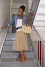 Blue-h-m-jacket-beige-club-monaco-skirt-white-f21-shirt