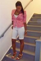 pink blazer random brand - white tank f21 - white shorts f21 - acessories f21
