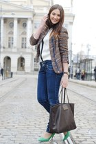 dark green Zara blazer - H&M shirt - dark brown Mang bag