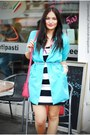 H-m-dress-turquoise-blue-second-hand-blazer
