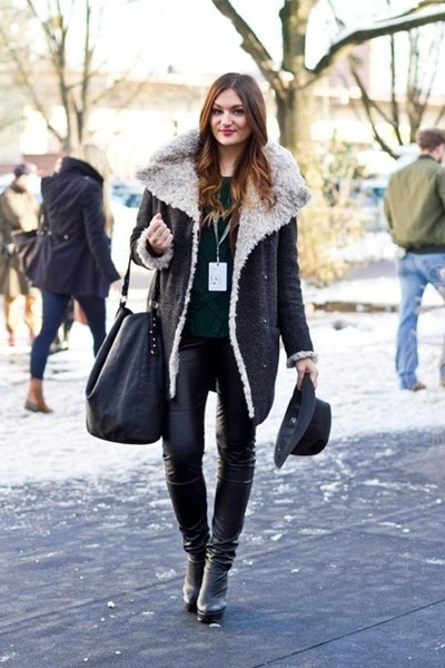 dark gray Marks&Spencer coat - dark green Zara sweater
