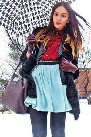 black romwe coat - dark brown Mango bag - crimson Primark blouse