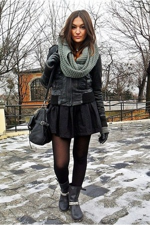 black Gap boots - black Zara skirt - gray Zara jumper