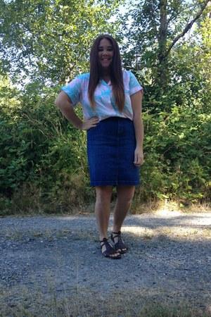 hawaiian pastel thrifted shirt - jean midi thrifted skirt