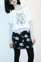 white Talula shirt - black Talula skirt - black TNA leggings - silver TNA shirt